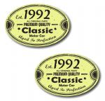 PAIR Distressed Aged Established 1992 Aged To Perfection Oval Design Vinyl Car Sticker 70x45mm Each